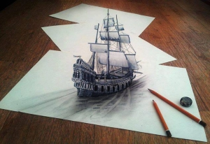 نقاشی 3 بعدی کشتی روی کاغذ