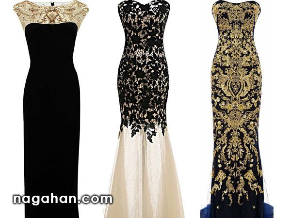 جدیدترین لباس شب زنانه | پیراهن های گیپور و سنگ دوزی شده برای مجالس نامزدی، عقد و عروسی
