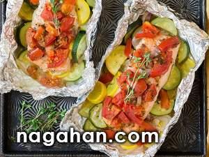ماهی قزل آلادر فویل| دستور تهیه سریع و آسان غذای دریایی کم کالری با کربوهیدرات پایین