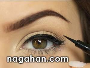 آموزش تصویری کشیدن خط چشم با مداد یا ماژیک + عکس های مرحله به مرحله | همه چیز درباره آرایش خط چشم