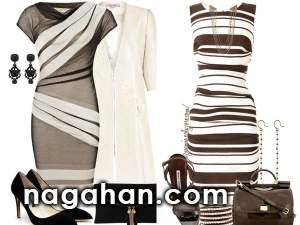 کالکشن جدید مدل ست لباس مهمانی طرح راه راه سیاه و سفید | ایده های نو برای طراحی لباس و خیاطی