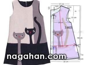 الگو و مدل لباس کودک 95 | الگو پیراهن دخترانه برای علاقه مندان به خیاطی