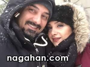 عکس هنرمندان در روز برفی | رضا شفیعی جم + یکتا ناصر و برزو ارجمند در کنار همسر و فرزندش در برف