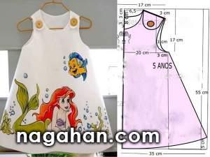 خیاطی به روش آسان همراه با الگوی پیراهن دخترانه