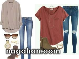ست تیشرت و شلوار جین مخصوص بهار و تابستان | تیپ بلوز و شلوار دخترانه و زنانه