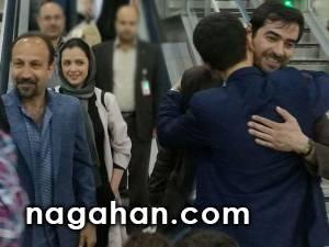 فیلم استقبال عجیب از اصغر فرهادی، ترانه علیدوستی و شهاب حسینی در فرودگاه امام خمینی