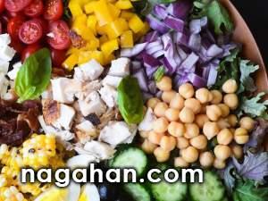 سالاد رنگی سرشار از ویتامین و پروتئین