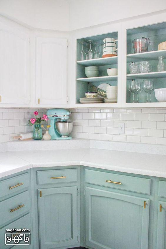ایده نو و مدرن در طراحی و چیدمان آشپزخانه با کابینت رنگ مینت یا آبی نعنایی