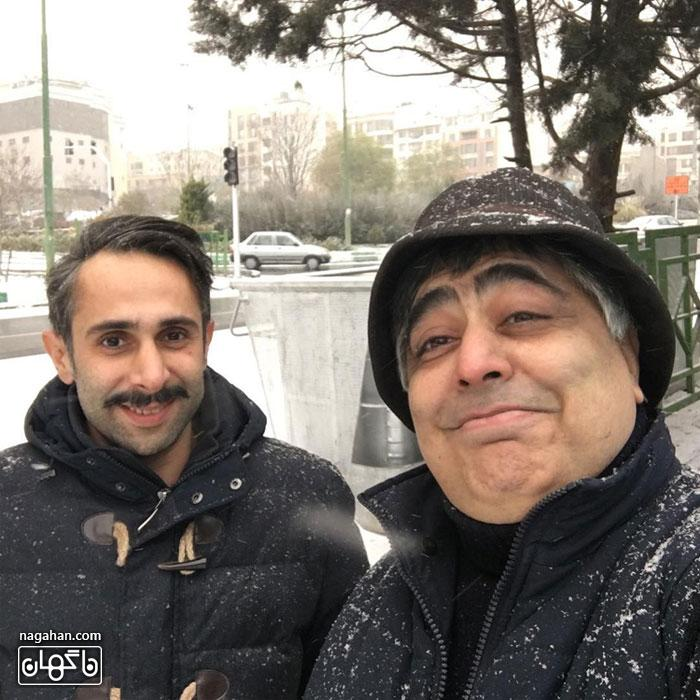 عکسرضا شفیعی جم و دوستش در برف