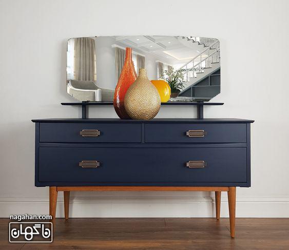 مدل میز و آینه کنسول رنگ سرمه ای