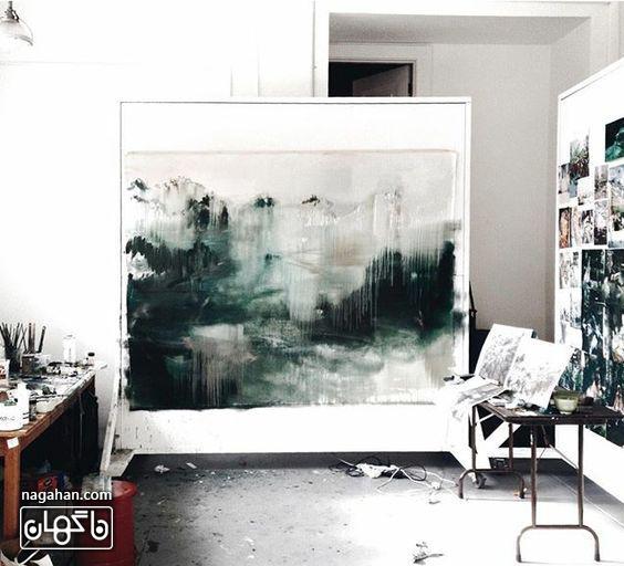 نقاشی آبستره آکریلیک با رنگ های تیره و جذاب