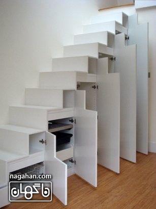 طراحی راه پله و استفاده از فضای پرت زیر راه پله