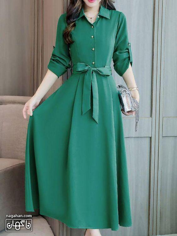 عکس مدل مانتو پیراهنی بلند دخترانه و زنانه اندامی رنگ سبز یشمی