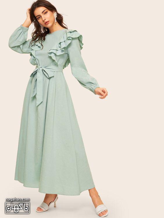 عکس مدل مانتو پیراهنی بلند دخترانه و زنانه سبز کاهویی