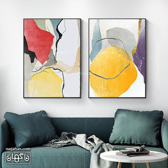 نقاشی آبستره آکریلیک با رنگ های شاد و روشن