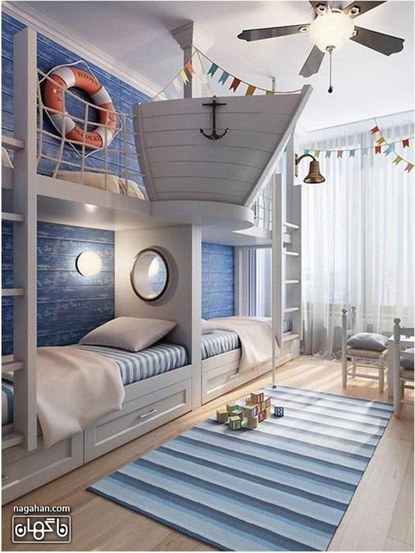 عکس اتاق کودک و مدل تخت کشتی و ملوان - اتاق دخترانه و پسرانه