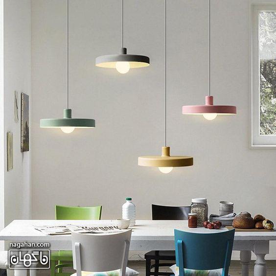چراغ آویز مدرن و جدید مخصوص آشپزخانه چند رنگ پاستلی