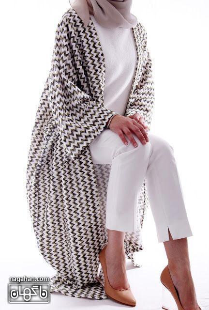 عکس مدل مانتو حریر خنک طرح دار سیاه و سفید