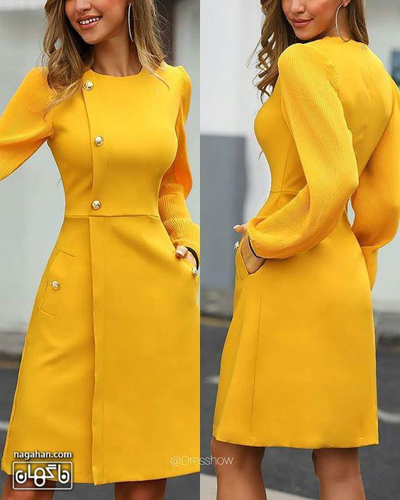 عکس مدل مانتو پیراهنی اندامی بلند دخترانه زرد خردلی