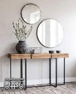 مدل میز و آینه کنسول ساده و شیک برای ورودی خانه
