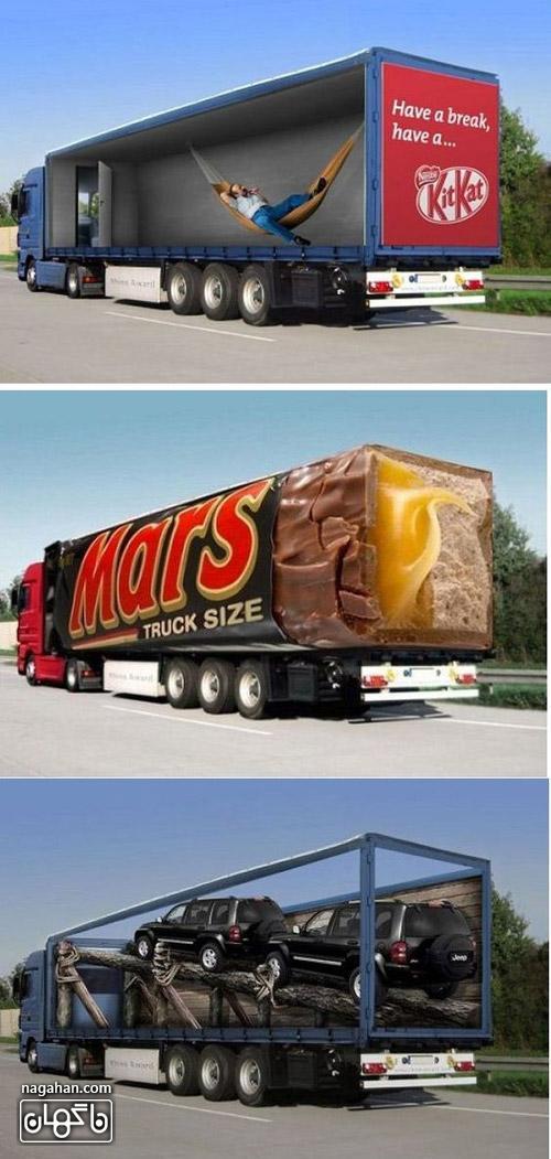 عکس از تبلیغات نوآورانه و جذاب سه بعدی روی تریلی و کامیون