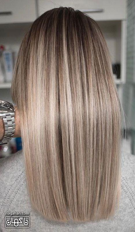 مدل مو صاف و بلند و رنگ بلوند و روشن