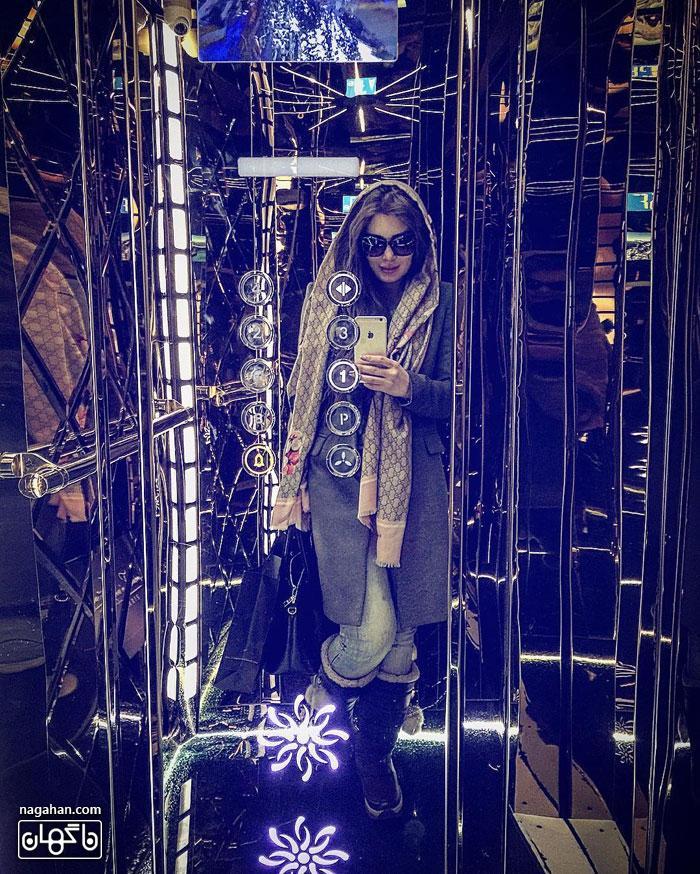 جدیدترین عکس سلفی سحر قریشی در آسانسور