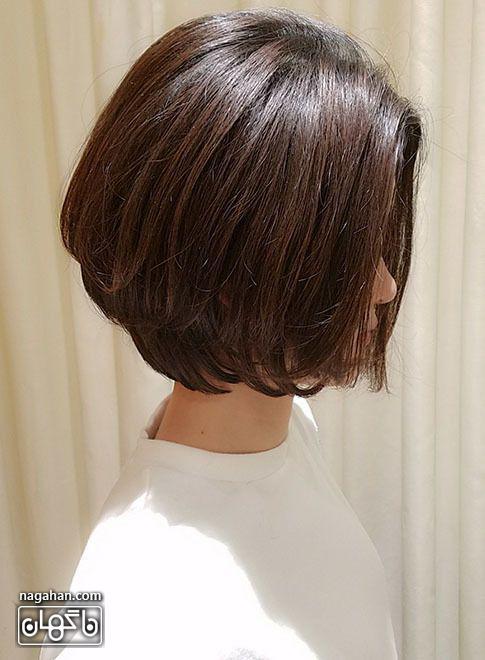 مدل موه کوتاه و رنگ مو قهوه ای تیره
