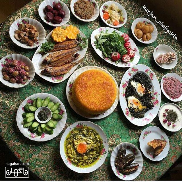 ترش تره ، باقلی خورشت ، ماهی شور و ماهی دودی با ماهی کولی و کال کباب و زیتون پرورده