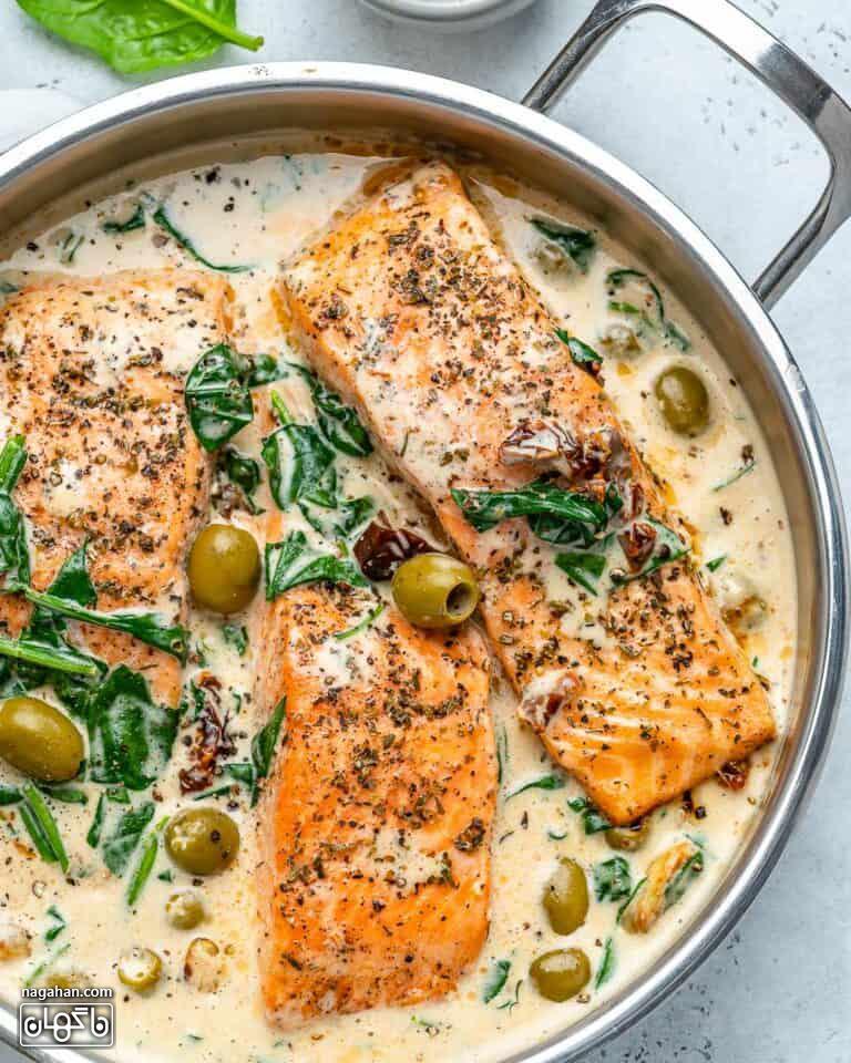 ماهی قزل آلا خامه ای توسکانی | آموزش گام به گام غذای ایتالیایی سالم و سریع