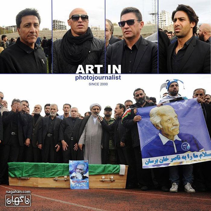 عکسحضور ورزشکاران معروف و پیشکسوت در مراسم خاکسپاری مرحوم منصور پورحیدری