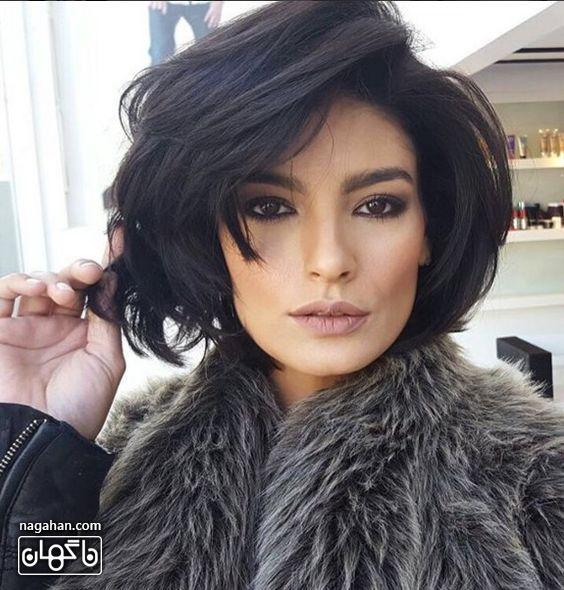 مدل مو کوتاه سیاه برای صورت های استخوانی