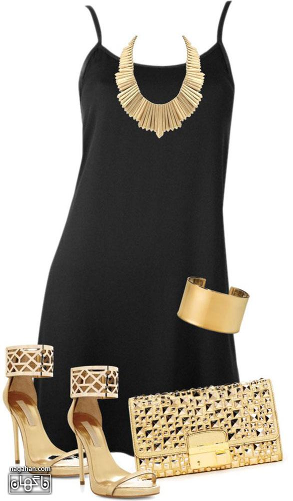 عکس پیراهن مشکی با بدلیجات و کیف و کفش طلایی