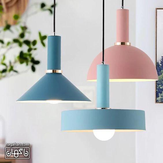 چراغ آویز های میز ناهار خوری رنگ پاستلی چند رنگ آبی و صورتی