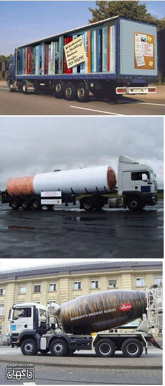 عکس تبلیغات متفاوت و سه بعدی روی کامیون