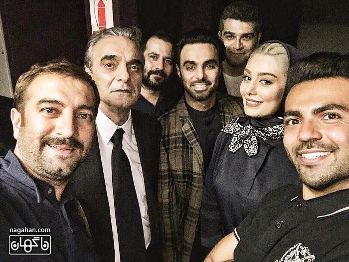 عکس سلفی مجید صالحی به همراه سحر قریشی و عوامل پشت صحنه سریال آسپرین