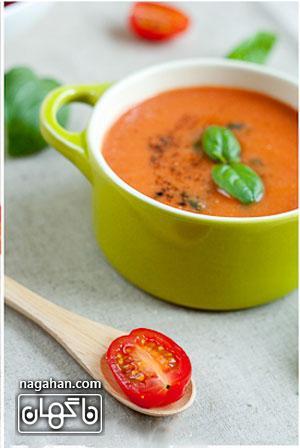 سوپ گوجه فرنگی و ریحان