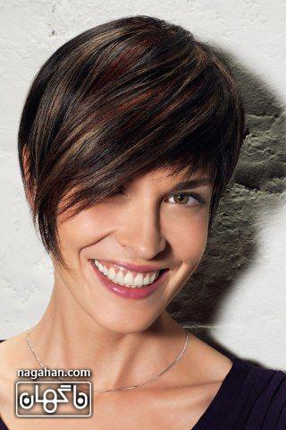 مدل مو کوتاه سیاه با هایلایت طلایی