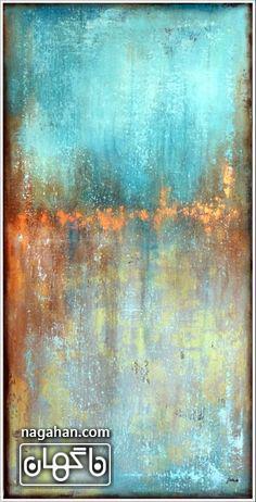 نقاشی آبستره با رنگ آکریلیک آبی صدفی و طلا