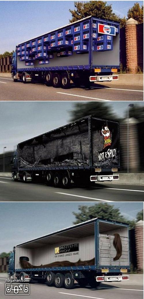 عکس تبلیغات سه بعدی جالب روی کامیون