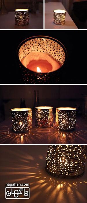 آموزش گلدان و جا شمعی با مواد بازیافتی ،کاردستی با استفاده از قوطی کنسرو و تن ماهی