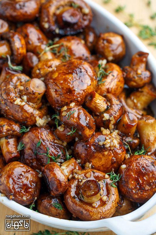 مواد تشکیل دهنده قارچ کبابی با سس سویا و سیر