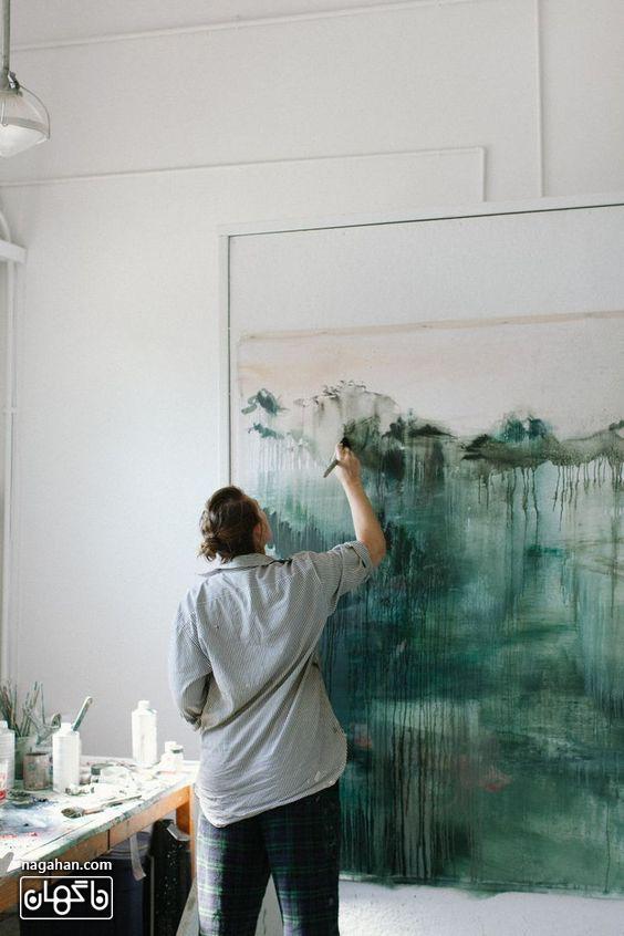 نقاشی آبستره آکریلیک با رنگ سبز تیره و جذاب