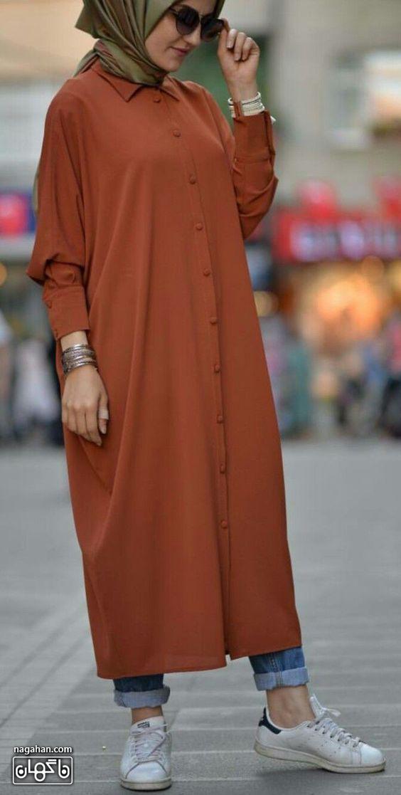 جدیدترین مدل مانتو بلند دانشجویی رنگ آجری