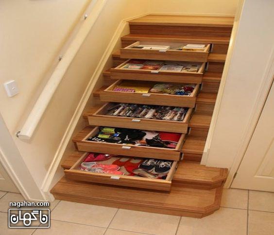 استفاده از فضای زیر پله ها به شکل کمد کفش و وسایل