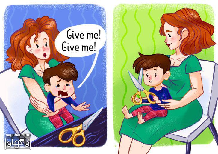 2-از کج خلقی کودک خود جلوگیری کنید.