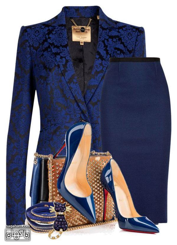عکس لباس ست - کت و دامن مجلسی شیک به همراه کیف و کفش و بدلیجات