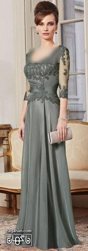 جدیدترین لباس شب زنانه | پیراهن های گیپور و سنگ دوزی شده برای مجالس نامزدی، عقد و عروسی رنگ طوسی