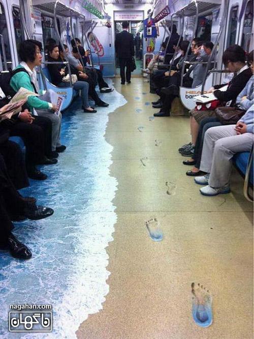 عکس طراحساحل و دریا در واگن مترو
