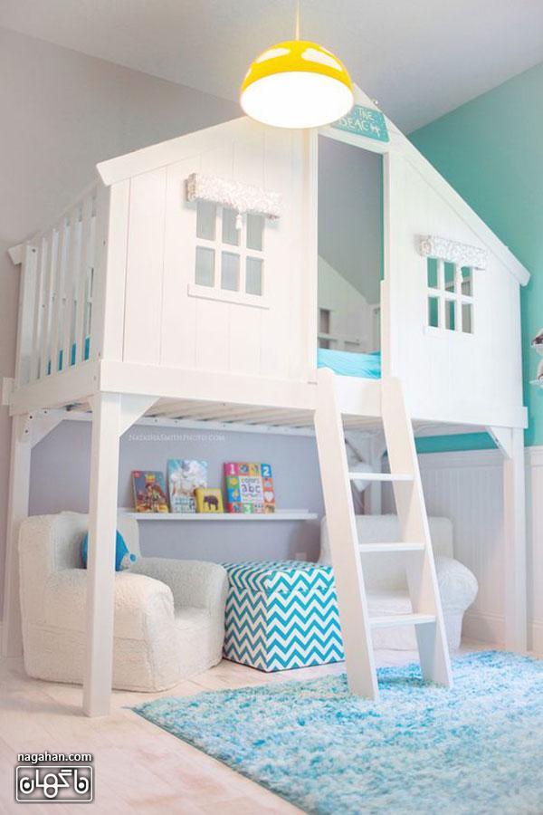 عکس اتاق کودک و مدل تخت خانه چوبی - اتاق دخترانه و پسرانه